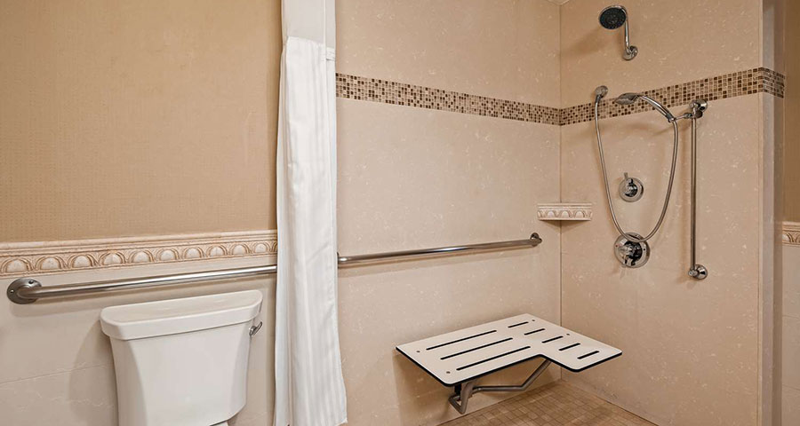 Accessible bathroom with roll-in shower and grab bars